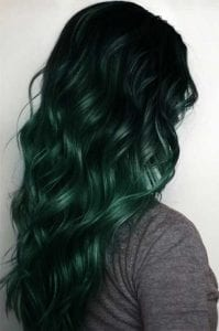 forest green teal hair